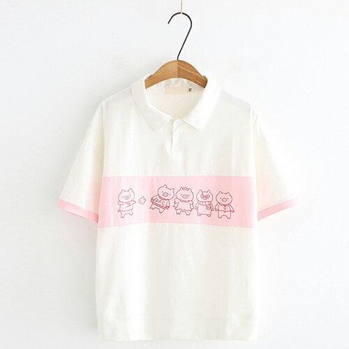 *ORead*小豬印花拼色寬鬆翻領短袖T恤(3色M~L) 1