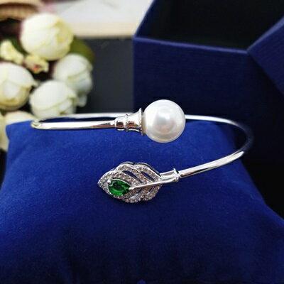 【米蘭秀】【奇珍館】:珍珠手環925純銀手鍊-10mm綠葉鑲鑽母親節情人節禮物女飾品73qn23【獨家進口】【米蘭精品】