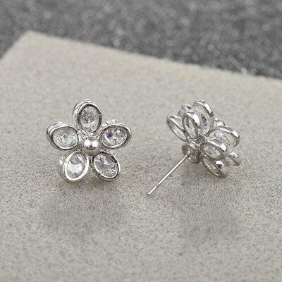 ~925純銀耳環水晶耳飾~典雅迷人花朵 生日情人節 女飾品2色73hz79~ ~~米蘭 ~