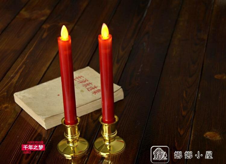 搶先福利 紅色蠟燭搖擺長桿電子蠟燭燈 教堂節日仿真桿形LED電子蠟燭 供佛 夏季狂歡爆款
