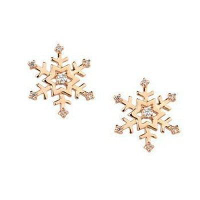 玫瑰金耳環925純銀鑲鑽耳飾~唯美氣質雪花 七夕情人節 女飾品73gs31~ ~~米蘭 ~