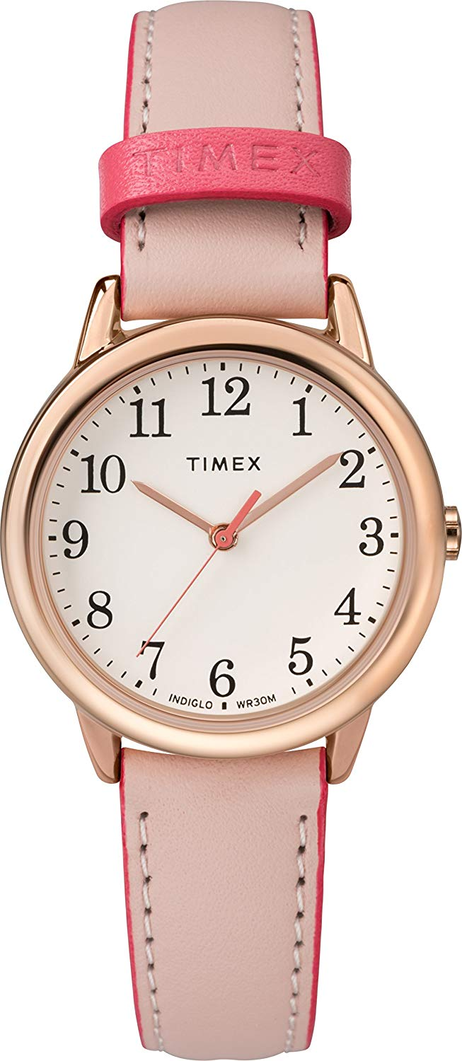 451ef4a2d Timex TW2R62800 Women's Rose Gold Tone Easy Reader Pink Leather Band Watch 0