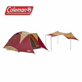 Coleman 勃根地版4-6人透氣圓頂露營帳IV套裝組 露營│旅遊 CM-26514