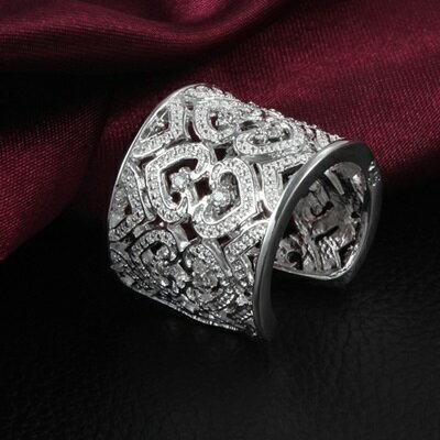 ~925純銀戒指鑲鑽銀飾~愛心鏤空 氣質唯美百搭七夕情人節生日 女 73at97~ ~~米