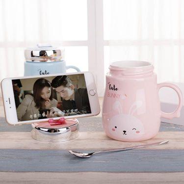 創意潮流韓版女學生馬克杯帶蓋勺可愛陶瓷杯辦公室家用水杯子  聖誕節禮物