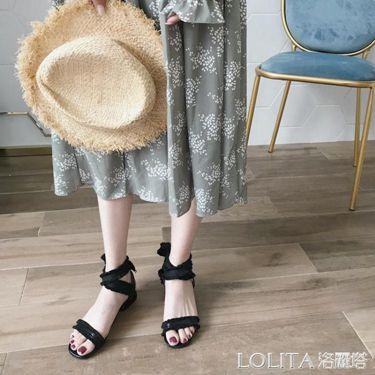 仙女風新款韓版露趾中跟絲帶綁帶女涼鞋夏季粗跟高跟女鞋  聖誕節禮物