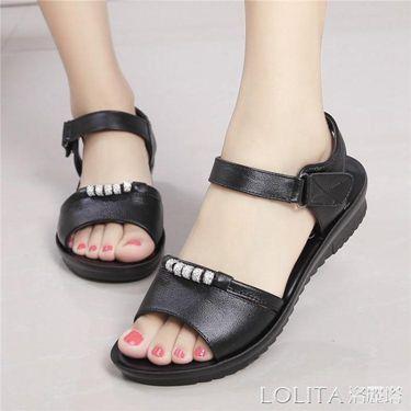 真皮媽媽涼鞋女夏季中老年女鞋平跟軟底防滑婦女涼鞋平底老人涼鞋  聖誕節禮物