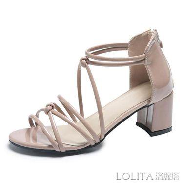 夏新款高跟涼鞋女粗跟仙女風交叉綁帶百搭中跟絨面韓版露趾鞋  聖誕節禮物