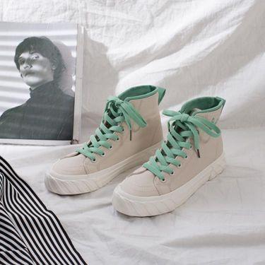 純潔綠復古港味帆布鞋女2018新款高筒鞋韓版學生板鞋ins女鞋  聖誕節禮物