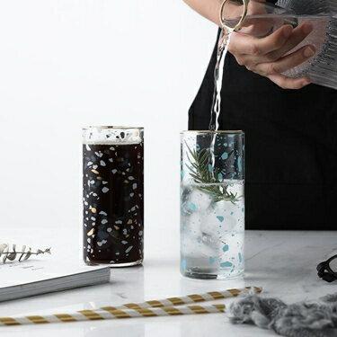 北歐復古風描金耐熱玻璃杯咖啡杯子家用果汁水杯紅茶杯極簡水磨石  聖誕節禮物