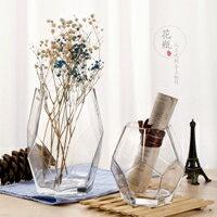 玻璃花瓶擺件客廳插花透明創意個性北歐幾何寬口現代簡約玫瑰鮮花  聖誕節禮物