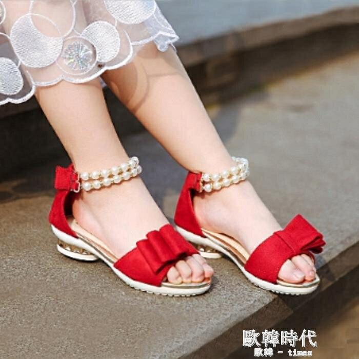 夏女童涼鞋魔術貼兒童公主鞋女韓版軟底學生童鞋  聖誕節禮物