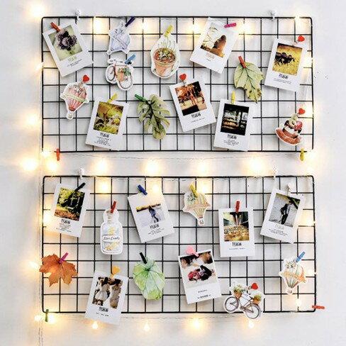 網格照片墻裝飾ins網紅少女房間布置自粘貼免打孔麻繩夾子相片墻    伊卡萊生活館  聖誕節禮物