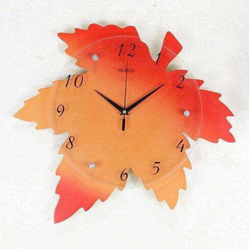 掛鐘靜音創意電子客廳鐘表個性楓葉掛表臥室田園壁鐘藝術裝飾  伊卡萊生活館  聖誕節禮物