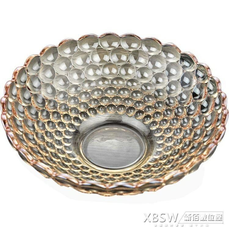 智窗歐式珠點水果盤大號金色創意無鉛玻璃果盤客廳擺件家用糖果盆  聖誕節禮物