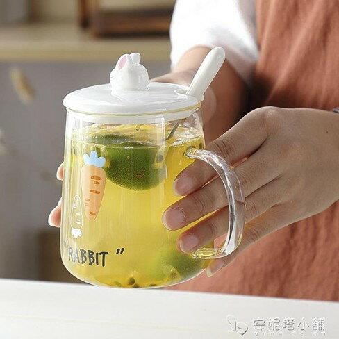 網紅ins玻璃花茶水杯子帶蓋勺帶把家用女清新透明可愛馬克杯   伊卡萊生活館  聖誕節禮物