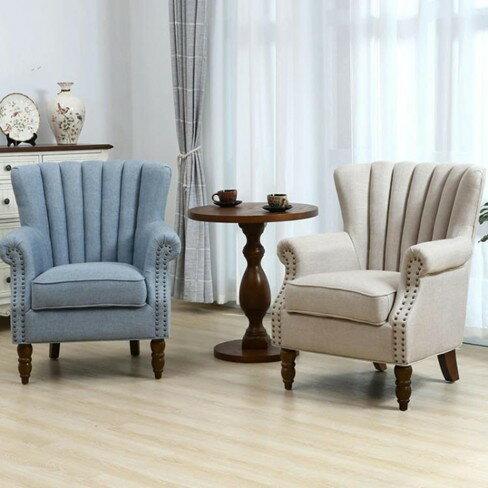 單人沙發美式老虎椅北歐雙人組合小戶型休閒懶人臥室陽臺客廳布藝  伊卡萊生活館  聖誕節禮物