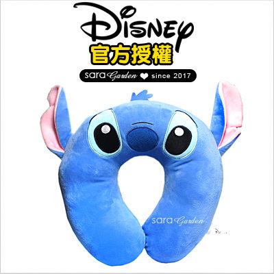 SaraGarden:正版迪士尼Disney史迪奇飛機枕枕頭靠枕午睡枕護頸枕U型枕柔軟絨毛