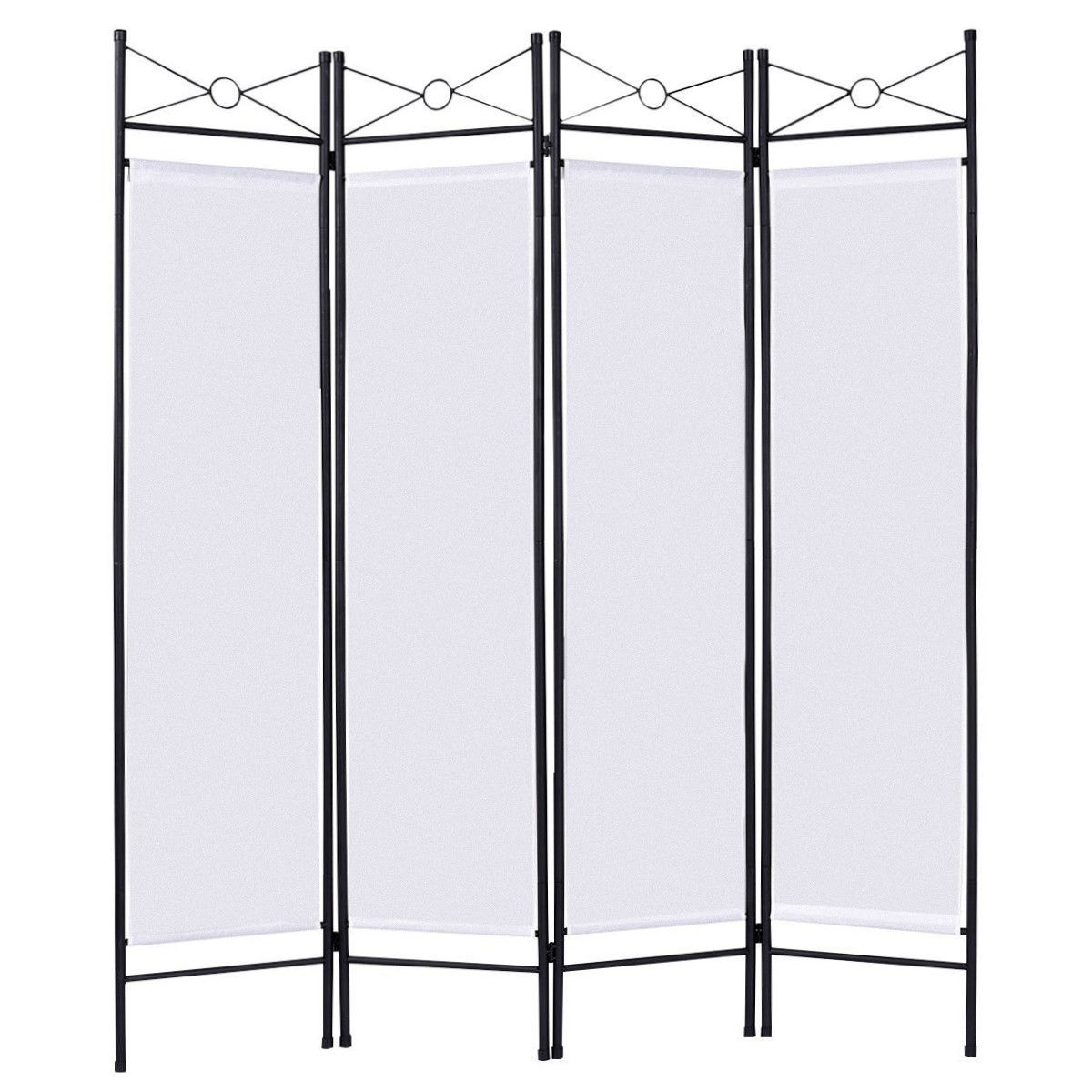 Costway Costway White 4 Panel Room Divider Privacy Screen Home
