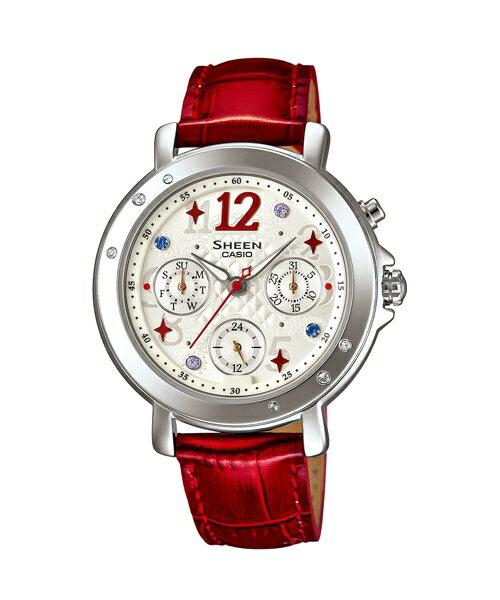 CASIO SHEEN SHE-3033L-7A3華麗時尚腕錶/紅色37mm