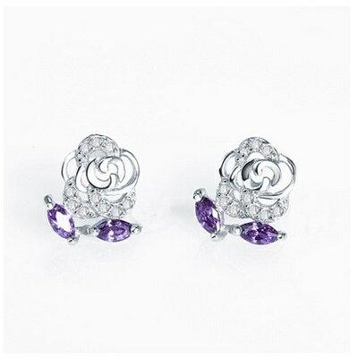 ~925純銀耳環鑲鑽耳飾~耀眼迷人玫瑰花 生日情人節 女飾品73dz56~ ~~米蘭 ~