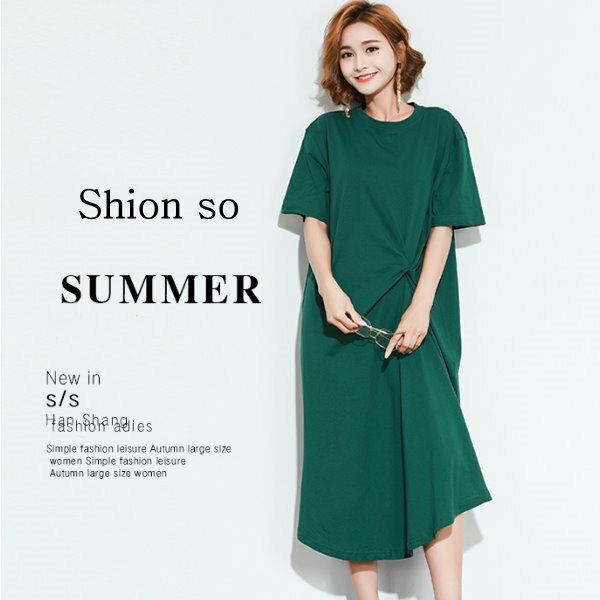 享瘦衣舍中大尺碼【B7182】時尚設計款不規則造型連衣裙