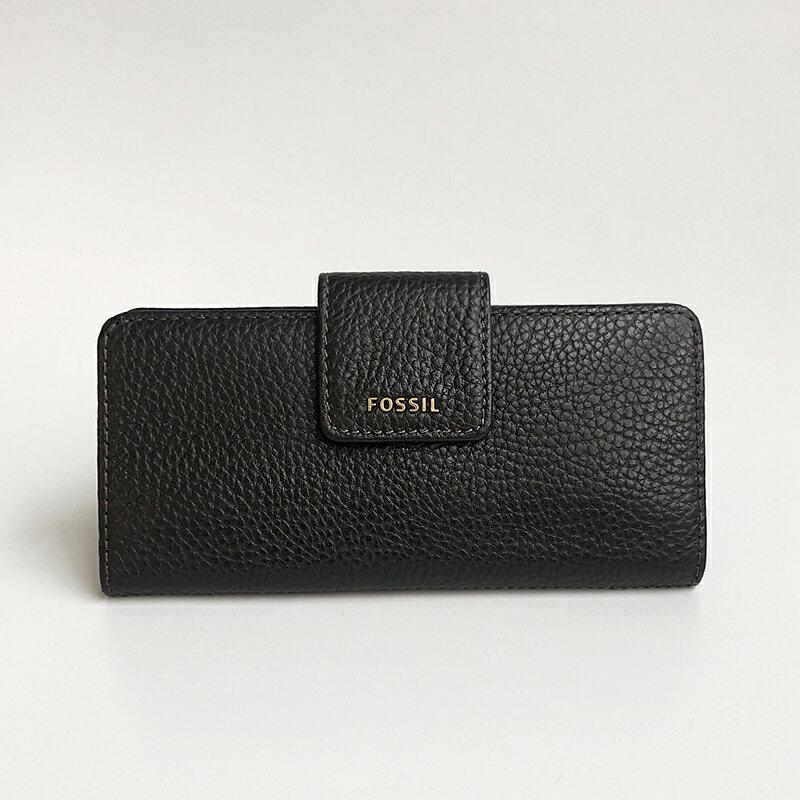 美國百分百【全新真品】Fossil 皮夾 長夾 錢包 零錢 證件夾 卡片夾 信用卡 禮物 logo 女包 黑色 AC97