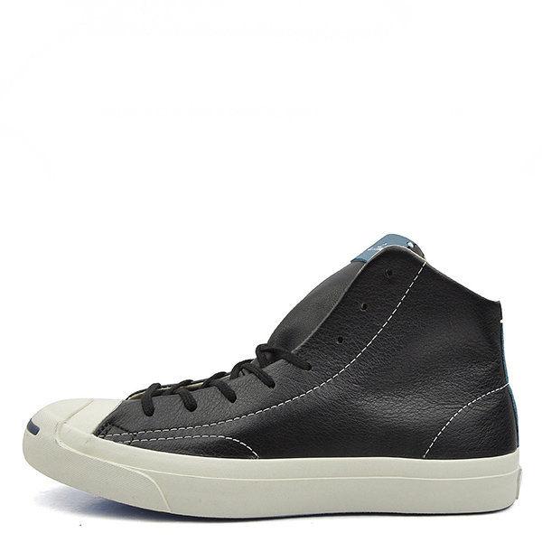 [尋寶趣] Converse 男鞋 開口笑 皮 高筒 黑 白 151967C