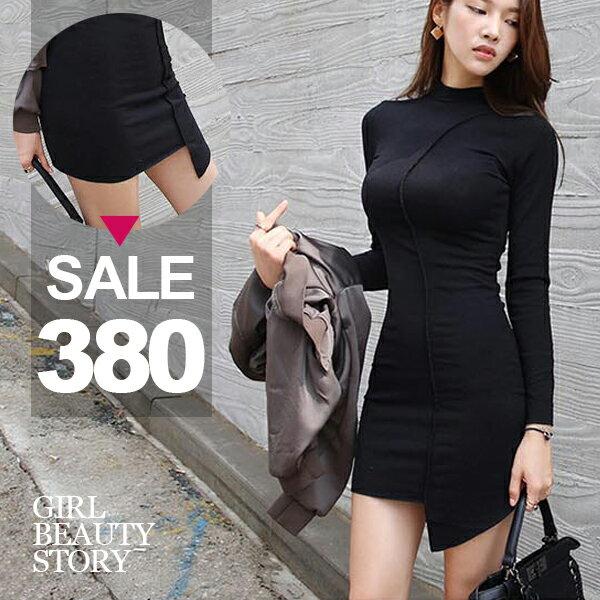 SiSi Girl:SISI【D7174】性感曲線修身不規則裙襬包臀羊毛絨磨毛連身裙洋裝