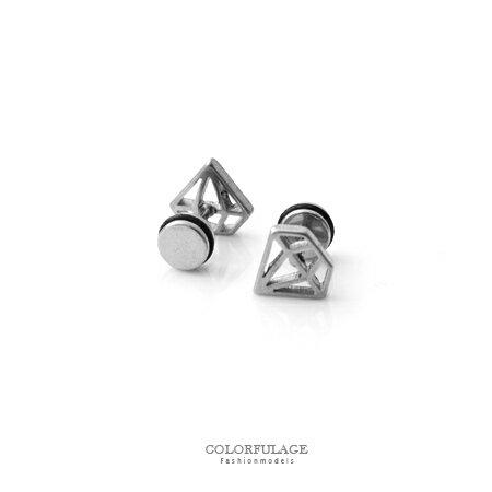 耳環 鏤空時光寶石 鑽石 穿式貼耳耳針 鋼針 抗過敏抗氧化 柒彩年代~ND216~單支