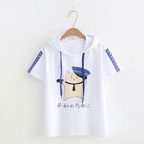 小貓印花休閒連帽學院風T恤(3色F碼)【OREAD】 0