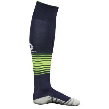 Comsport彈性炫彩條紋專業厚底足球襪-丈青底螢光黃條紋 - 限時優惠好康折扣
