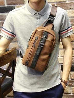 FINDSENSEZ1韓國時尚潮男休閒戶外豎款撞色胸包單肩包斜背包側背包斜挎包