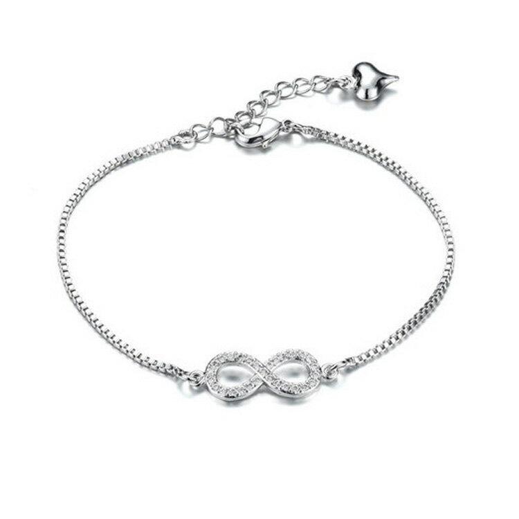 【5折超值價】 情人節禮物最新款時尚精美8字鑲鑽造型鍍白金女款手鍊