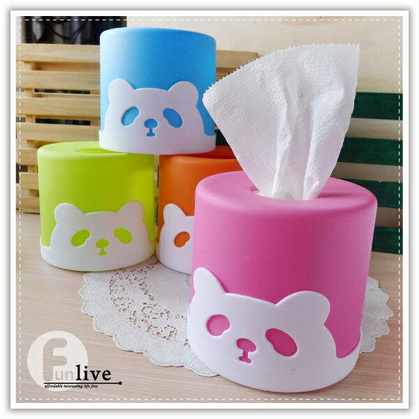 圓筒熊貓面紙盒 滾筒 捲筒面紙 紙巾架 抽取式 衛生紙盒 餐巾紙盒 熊貓 貓熊 動物面紙盒