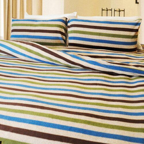 【風格條紋】雙人四件式兩用毯床包組 ◆ 高級搖粒絨 台灣製◆ HOUXURY寢具購物網