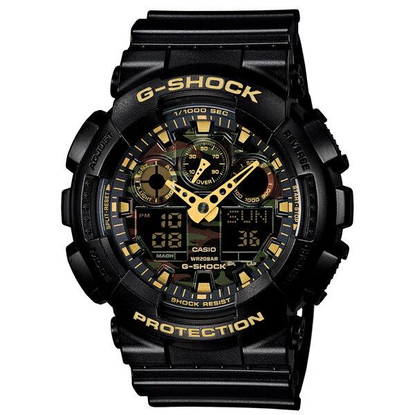 CASIO/G-SHOCK 卡西歐 GA-100CF-1A9(GA-100CF-1A9DR) 黑金 沙漠迷彩 雙顯 防水 手錶