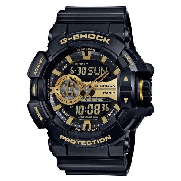 CASIO/G-SHOCK 卡西歐 GA-400GB-1A9(GA-400GB-1A9DR) 黑金 雙顯 防水 男錶