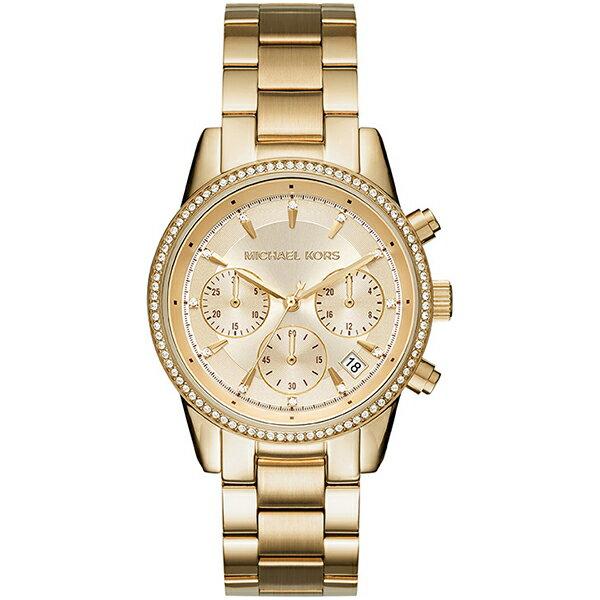 Michael Kors 美式 晶鑽 三眼計時 石英 女錶 MK6356
