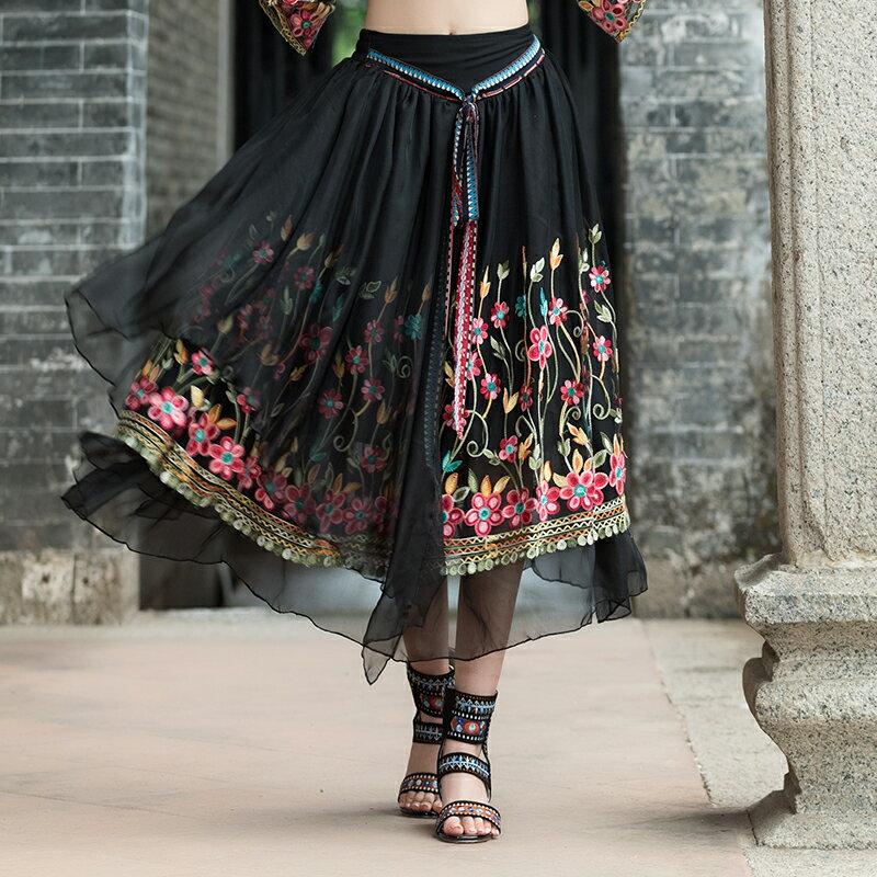 夏季新款民族風女裝半身裙復古印花刺繡中長A字裙大擺裙度假1入