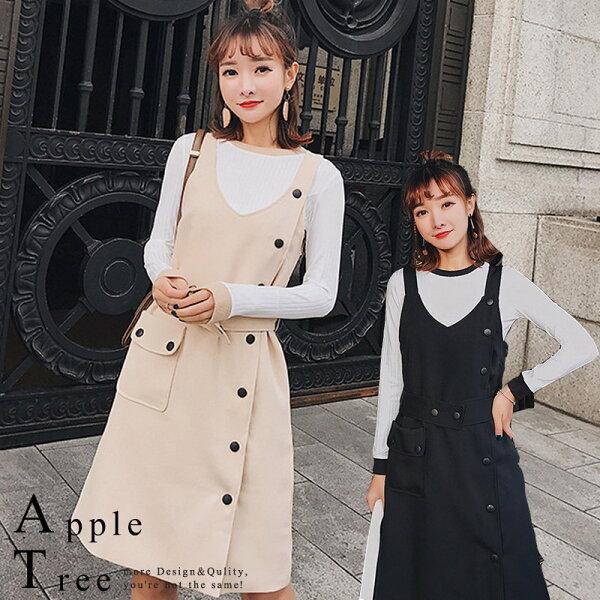蘋果樹AppleTree:AT日韓-韓國,單排扣附腰帶兩件套吊帶裙裝【801009】