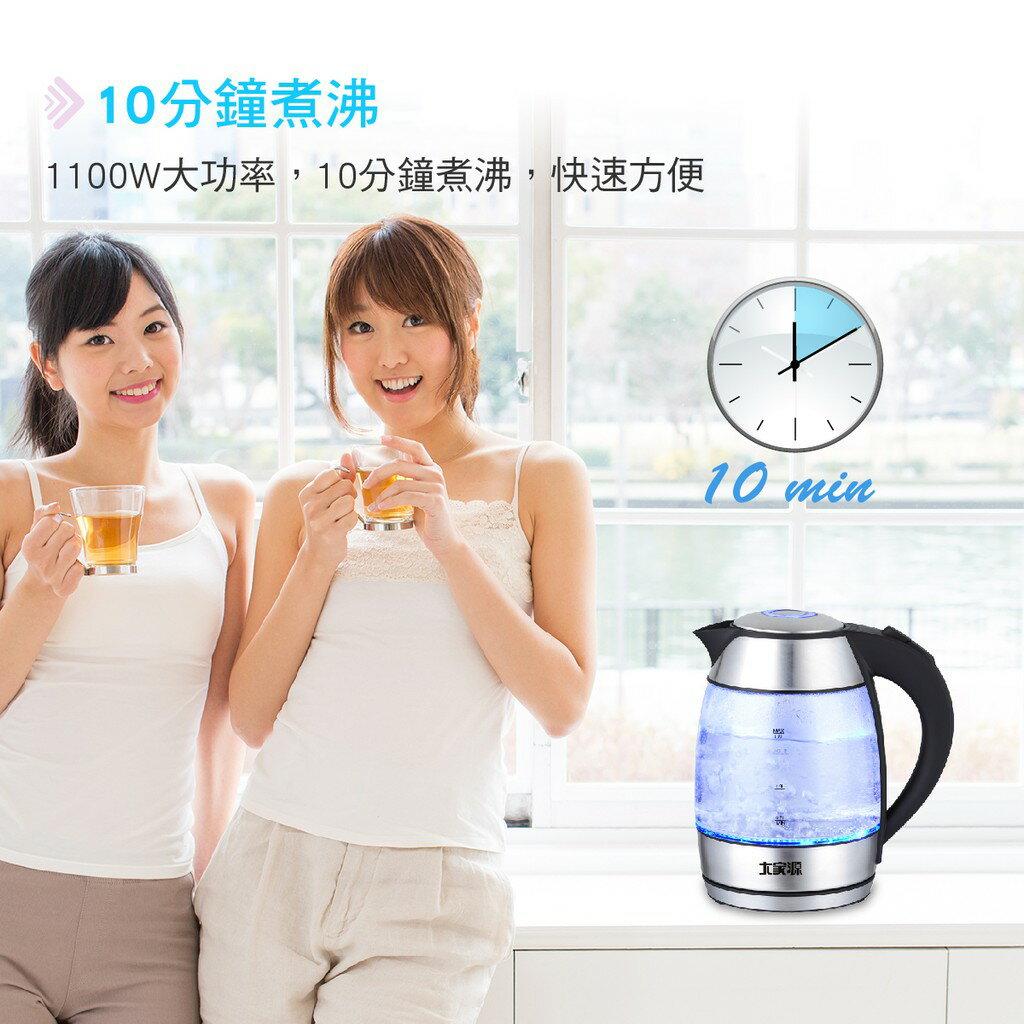[吉賀]大家源 1.8L 炫藍玻璃快煮壺/電水壺TCY-2658 熱水壺 快煮壺