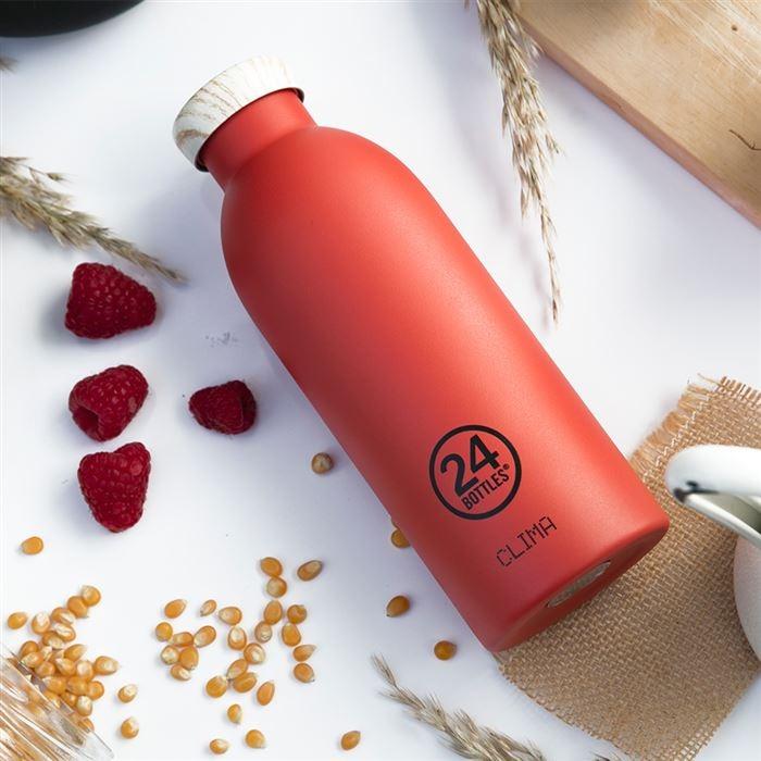 義大利 24Bottles 不鏽鋼雙層保溫瓶 500ml - 珊瑚紅(木紋蓋)