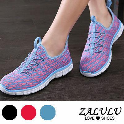 ZALULU愛鞋館 FD057 帥氣百搭花樣平底套腳布鞋~偏小~黑  紅  藍~36~40