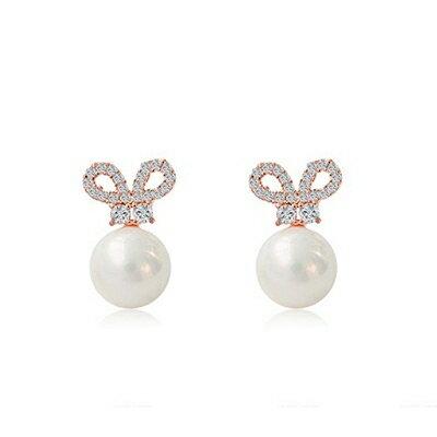 925純銀耳環鑲鑽耳飾~可愛兔耳 生日情人節 女飾品73dy65~ ~~米蘭 ~
