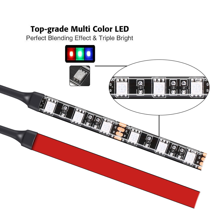 12pcs Multi-Color Waterproof Flexible Strip Motorcycle Car LED RGB Lighting Kit 1