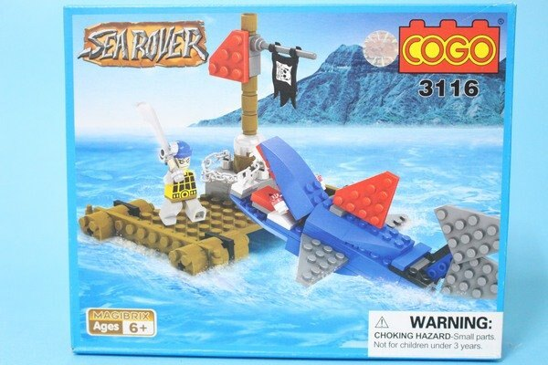 COGO積高積木 3116 海盜鯊魚積木(中) 約96片/一盒入{促180}~可與樂高混拼喔