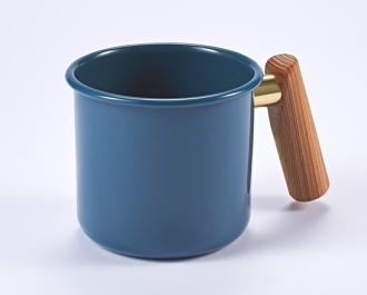 ├登山樂┤臺灣 Truvii 木頭琺瑯杯(把手與銅環樣式隨機出貨) 250ml 波斯藍#4716171921278