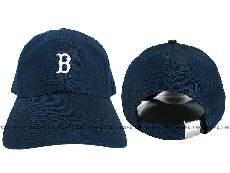 Shoestw【5762001-580】MLB 美國大聯盟 調整帽 老帽 紅襪隊 小LOGO 深藍色 男女都可戴
