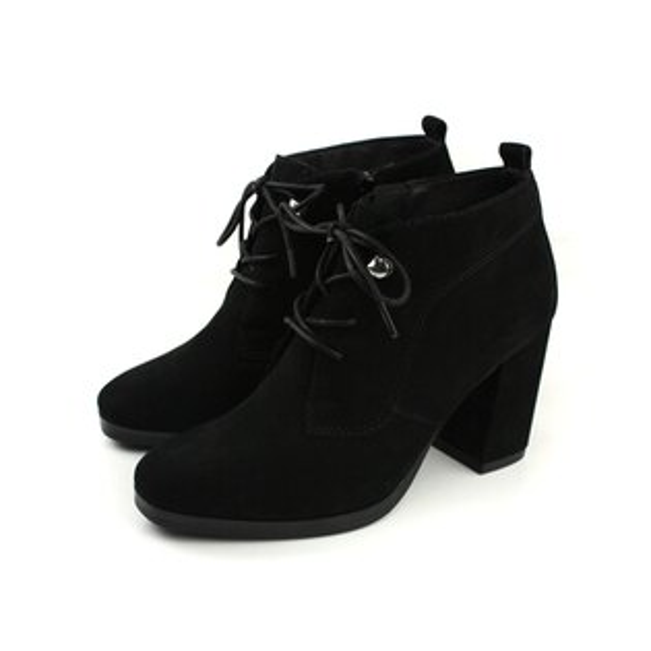 HUMAN PEACE:HUMANPEACE皮革高跟粗跟靴子黑色女鞋7516-04no041
